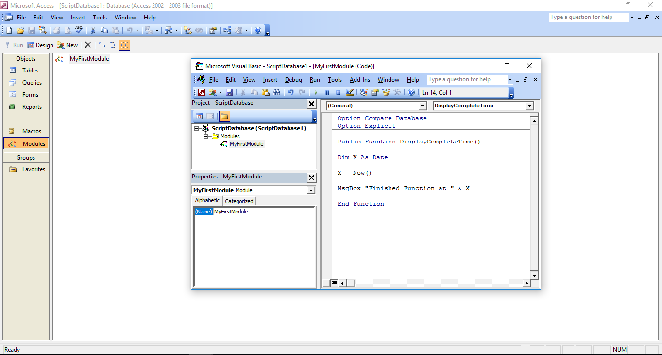 VBA Code : Run a Function and Link Functions together ( or