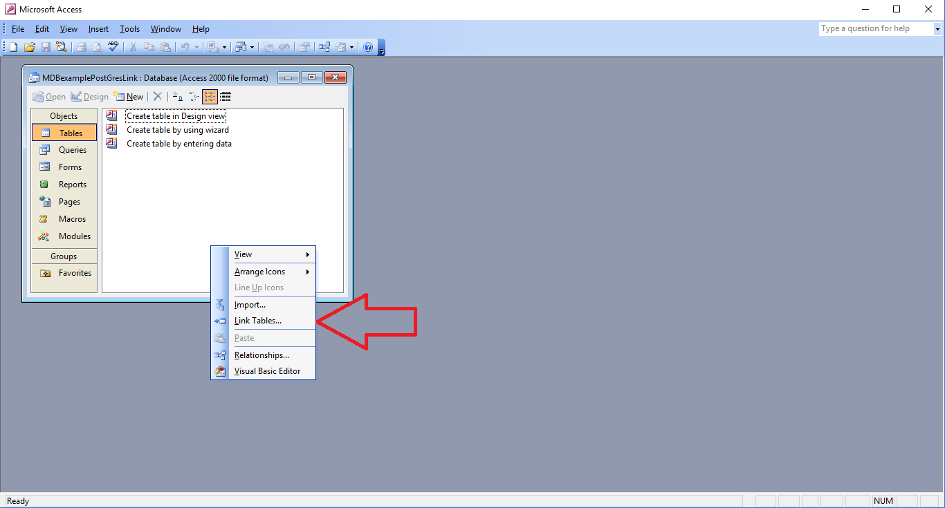 MS Access Front End – Linked to PostGreSQL back end – a simple walk